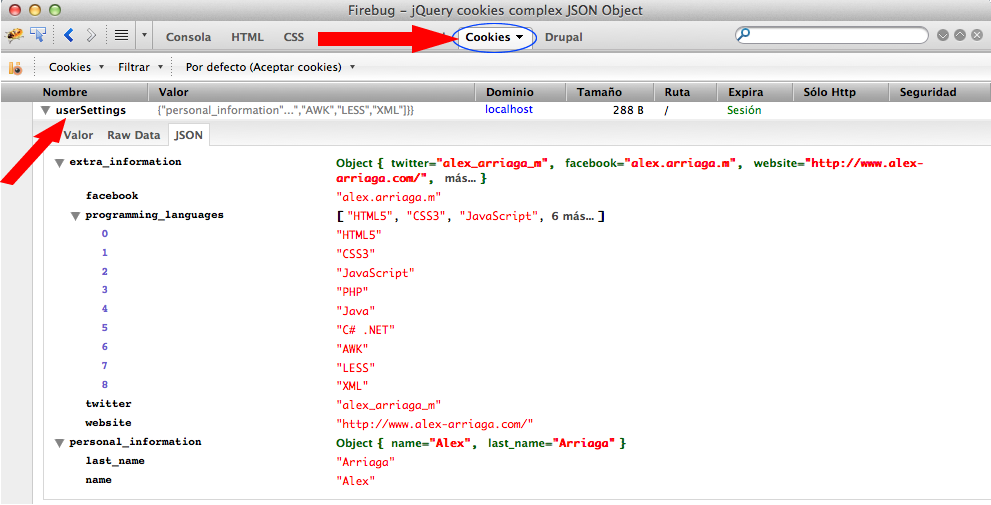Saving a complex JSON object in a cookie by using jQuery